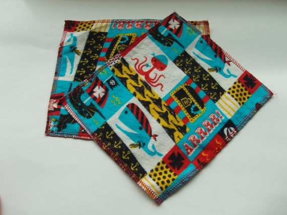 Soft Flannel Cloth Wipes--Pirate print