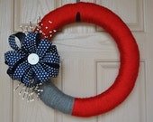 Red-White-Blue Yarn Wreath