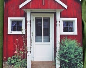Swedish Red House in Iowa - 11 x 14 Wooden Print Photograph - Free US Shipping