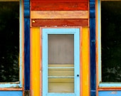 Colorful Door, Old Brick Building in Iowa - 8 x 10 Print - Red, Blue, Yellow Primary Colors - Free US Shipping