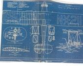 PASSPORT COVER - Vintage Airplane Blueprint