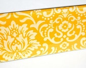 CHECKBOOK COVER - Yellow and Cream Damask