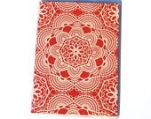PASSPORT COVER - Red Shabby Chic Doilies