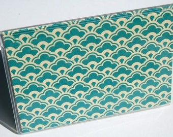 MINI WALLET - Teal and Cream Scallops