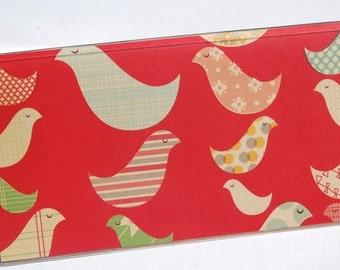 CHECKBOOK COVER - Vintage Red Birds