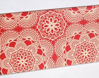 CHECKBOOK COVER - Red Shabby Chic Doilies