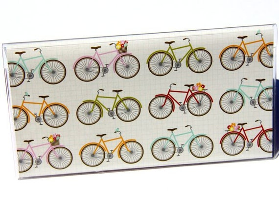 CHECKBOOK COVER - Birds, Bikes, and Baskets