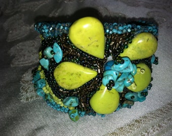 Turquoise Flower Cuff Bracelet of Bead Embroidery