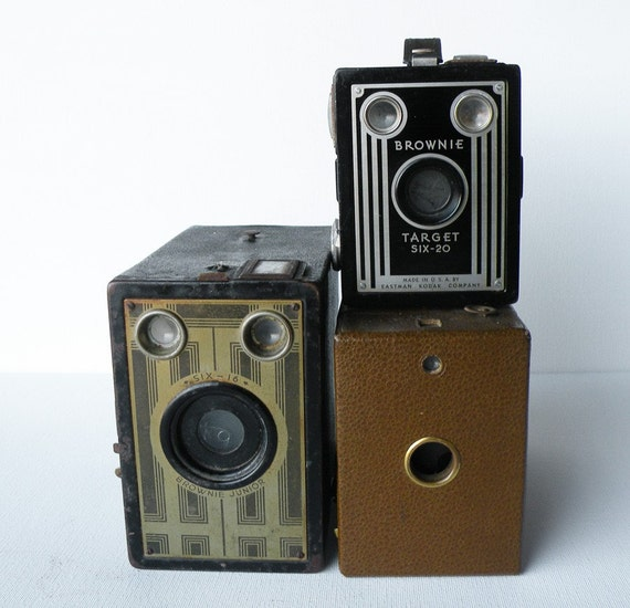 Set of 3 Vintage Box Cameras...for the photography lover.