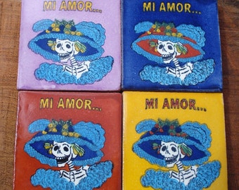 4 La Catrina Mi Amor Dia de los Muertos Day of the Dead Mexican Tile Talavera 2x2