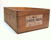 National Biscuit Company Ginger Snaps Wood Shipping Crate