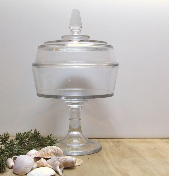 Clear Glass Apothecary Terrarium  Candy Dish with Lid