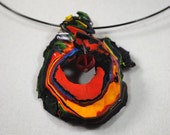 ON HOLD FOR J:  Paint Necklace- Swirl with Red Bead