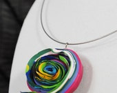 Paint Necklace- Rainbow Swirl