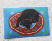 Dollhouse Miniature Rug Black Dog Napping One Twelfth Scale