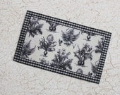 Miniature Black and Off White Botanical Rug for Dollhouse