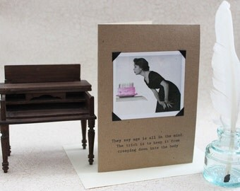 Funny Birthday Card Age Is All In The Mind a Sassy Saying on Recycled Paper