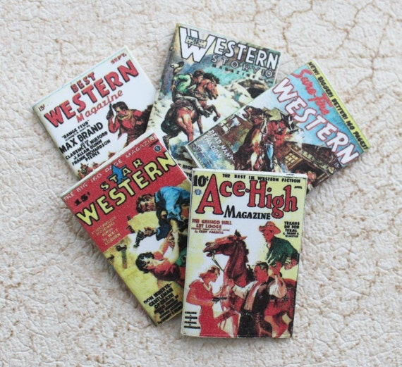 Miniature Western Theme Magazines for Dollhouse in One Twelfth Scale