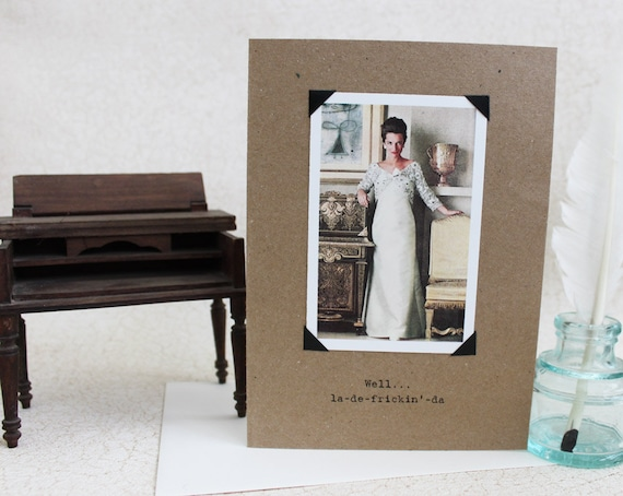 Funny Card With Congratulations Sassy Saying Retro Image Recycled Paper