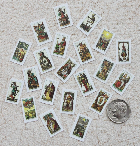 Tarot Cards in Miniature 1:12 Scale For Dollhouse Roombox Or Diorama