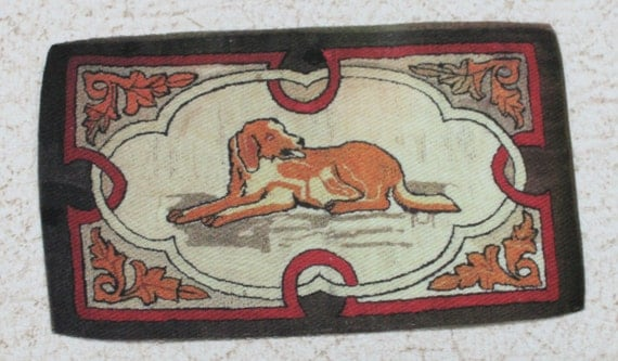 Miniature Dollhouse Rug Vintage Reproduction Reclining Dog 1:12 Scale
