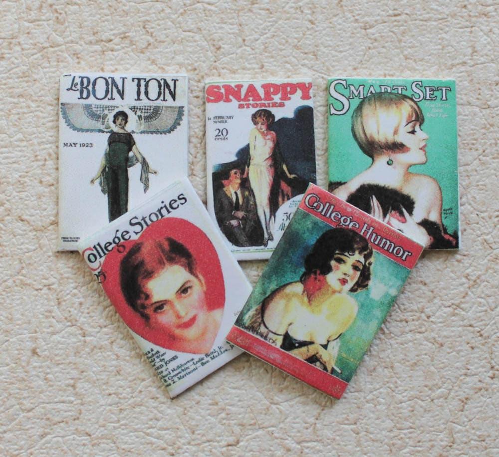 Miniature Magazines Flapper Era 1920s For Dollhouse 1:12 Scale