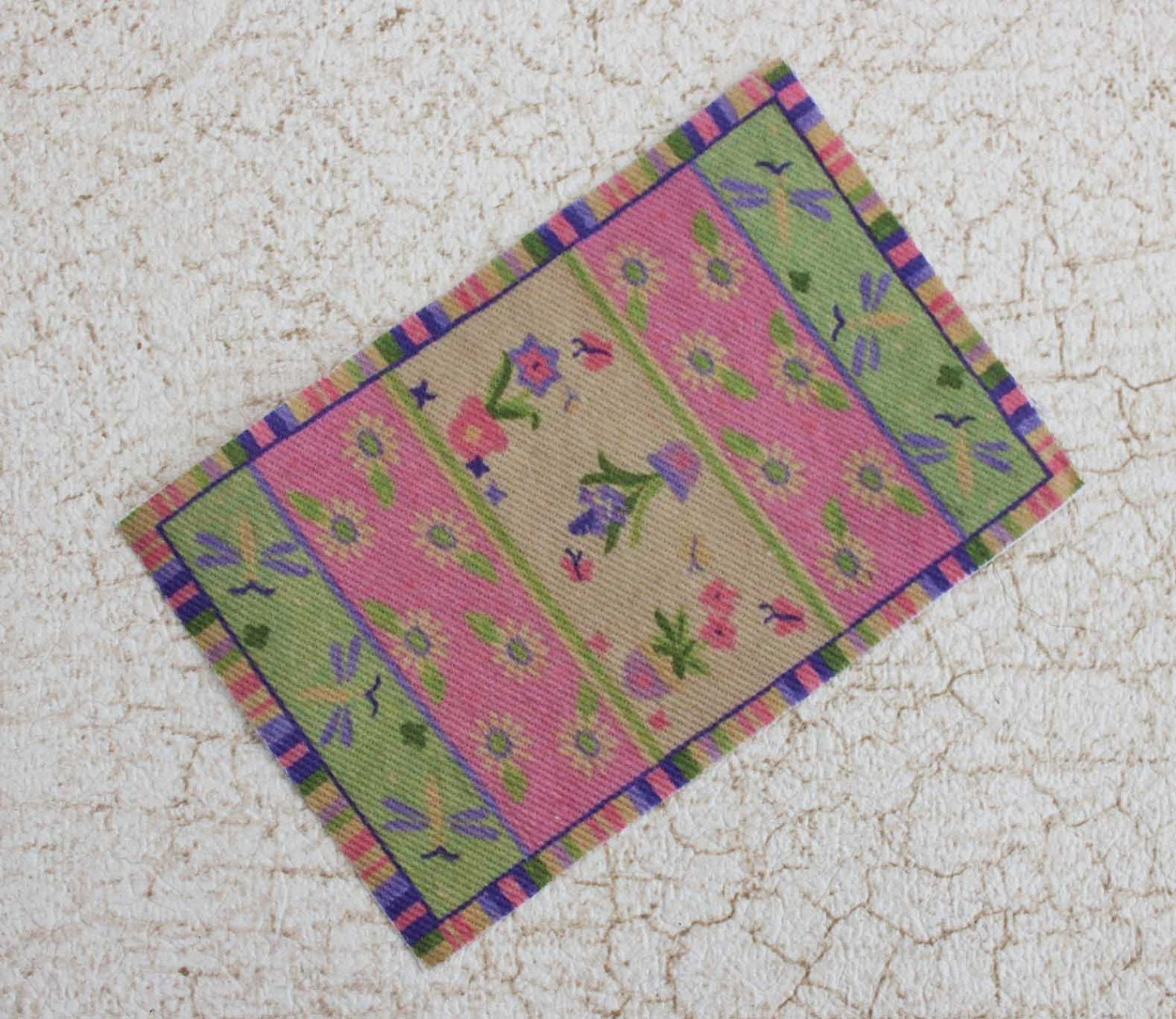 Miniature Dollhouse Rug In Pink And Green Floral Cottage Style