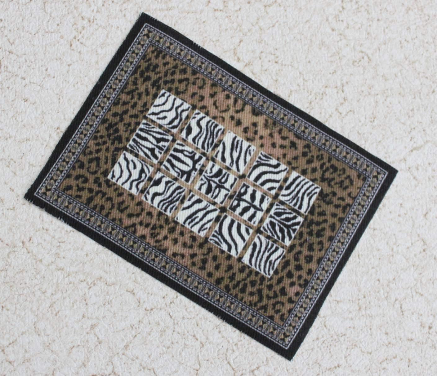 Miniature Rug Animal Print Cheetah Zebra Dollhouse One Twelfth