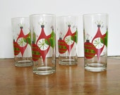 Modern Christmas Cocktail Glasses w / 70's Ornament Motif