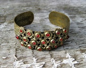 RESERVED for DEE  /////  Art Nouveau Brass Cuff Bracelet w/ Red Stones & Daisy Motif