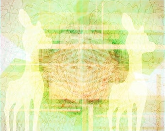 Deer Collaboration - 10x10 Modern, Abstract, Design, Affordable, Green, Glow, Ethereal, Art Print