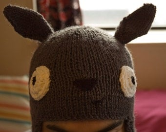 Knitted Totoro Ear Flap Hat