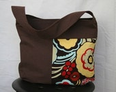 Mocca floral and brown dot medium bucket bag