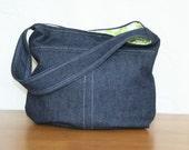 Dark denim medium bucket style shoulder bag