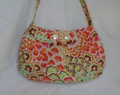 Large pleated buttercup  bag in amy butler soul blossoms