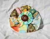 Shabby chic patchwork flower pin