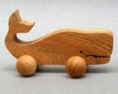 Wheeled Whale Toy for Kids Boys Girl, Wood Block Animal, Children Party Favor Waldorf Wooden Toy Birthday  Animal Ocean Save the Whale Gift