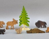 Wilderness Animal Set Wooden Toy Blocks Moose Bear Waldorf Toys for Kids Gifts Partyfavors for Boys and Girls nontoxic birthday present