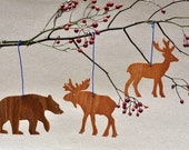 Woodland Animal Ornaments   Templates, Mobiles for Babys Bithday Party Favors Wooden Animal Cutouts Wildlife Animals Moose Deer Bear Grizzly