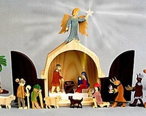 The Christmas Story Nativity Set Wooden Creche Manger Folkart Holiday Gift for Men and Women Nativity Scene