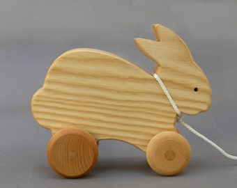 Rabbit Pull Toy Hopping Bunny Wooden Animal on Wheels Gift for Toddlers boys Girls Holiday Stockings