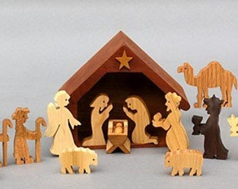 Nativity Set  a Wooden Creche Scene for Christmas Manger Stable for Noel Holy Family Wise Men Holiday Gift Handmade Collectable Jesus Angel