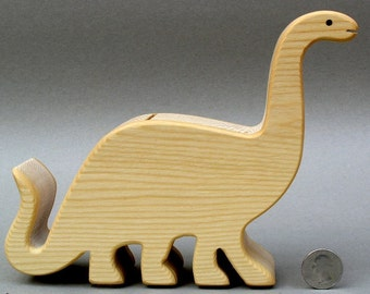 Brontosaurus Piggy Bank Wooden Coin Bank for Kids Babyshowers Boys Girls Gift for Children Toy