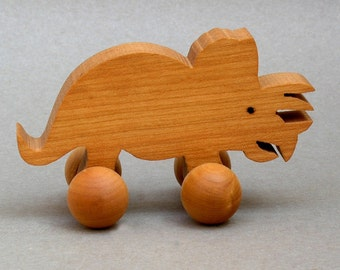 Triceratops Dinosaur on Wheels  Wood Block Toy Kids Party Favor