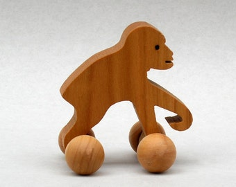Monkey on Wheels Chimpanzee Animal Toy for Kids Party Favor in Wood for Boys and Girl, Gorilla, Monkey Play, Woods Waldorf Zoo Animals Tods