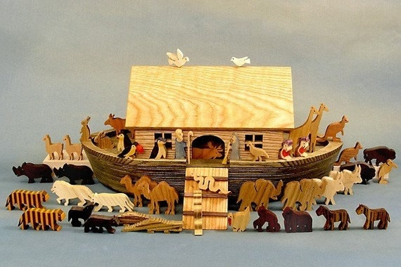 Heirloom Noah's Ark Wooden Collector's Babtism Bar and Bat Mitswa Gifts Biblical Keepsake Noahs Arc Animals Wood  Bible Story Waldorf