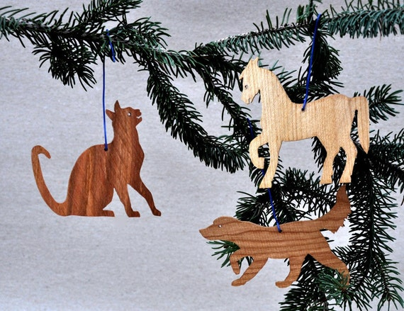 Farm Animal Ornaments Wooden Pet Silhouettes Dog Cat Horse Stencils Party Favors