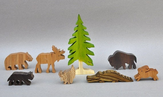 Wilderness Animal Play Set, Wooden Toy Blocks, Moose, Bear Waldorf Wood Toys Party Favors for Boys and Girls, Organic Woodland Toys Nontoxic