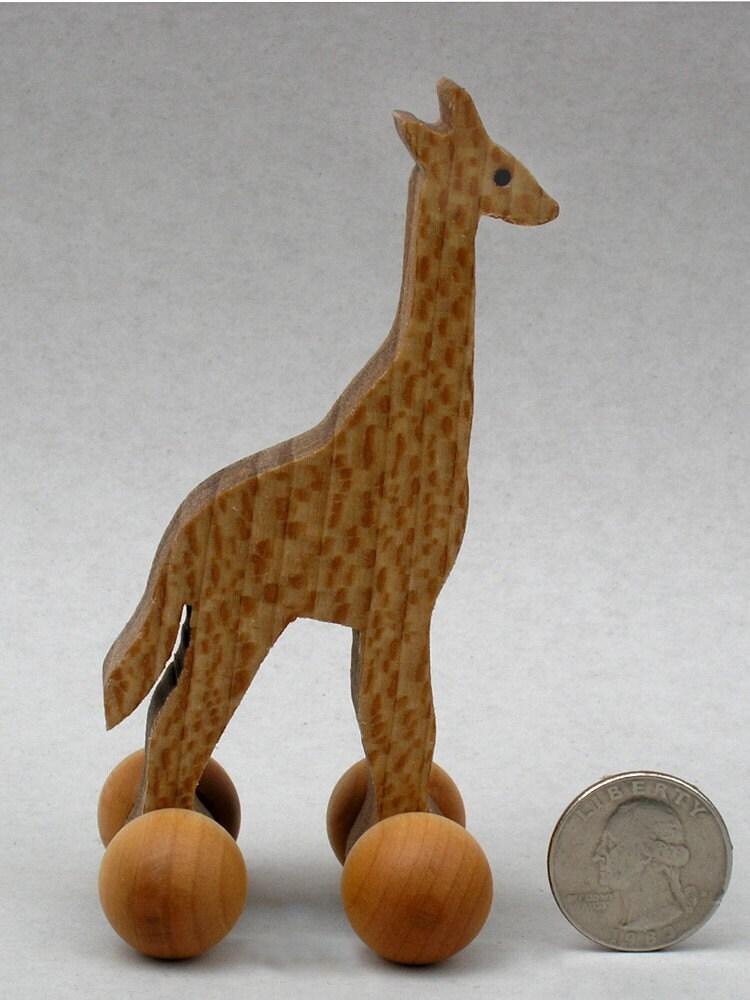 Giraffe Toy On Wheels Wooden Block Animal For Kids Organic