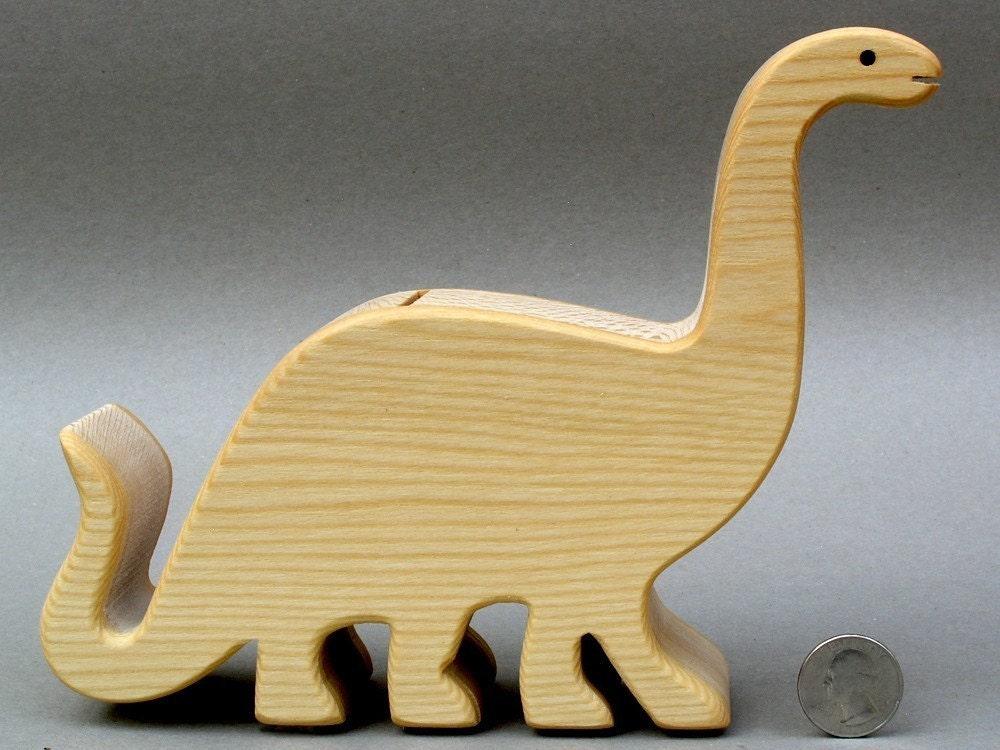Brontosaurus piggy bank wooden coin bank for kids babyshowers - Dinosaur piggy banks ...